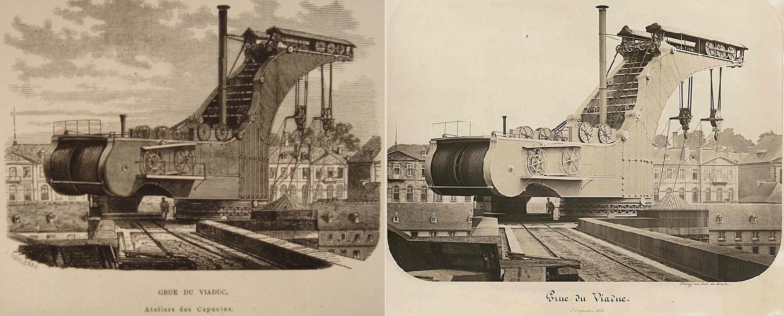 A crane in the port of Brest, France, engraving from L'Illustration, Journal Universel, No 121...jpg