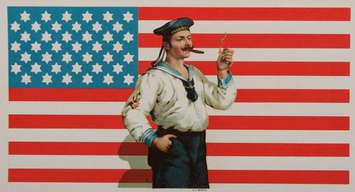 Antique American Flag Cigar Label with Sailor & 42 Six-Pointed Stars, 1889-1920.jpg