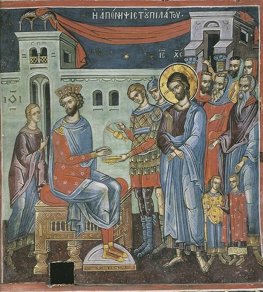 Christ on Trial by Pilate. Greece, 16th C. Mt. Athos. Dionysiou Monastery..jpg