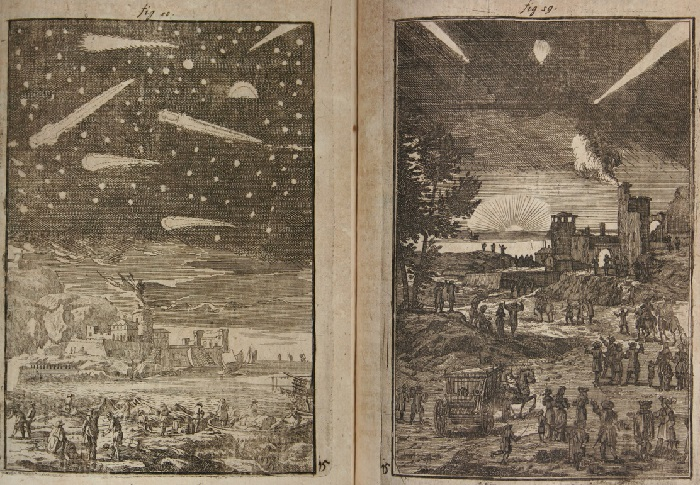 Comets and shooting stars in Description de l'Univers, by Alain Manesson Mallet, 1685..jpg