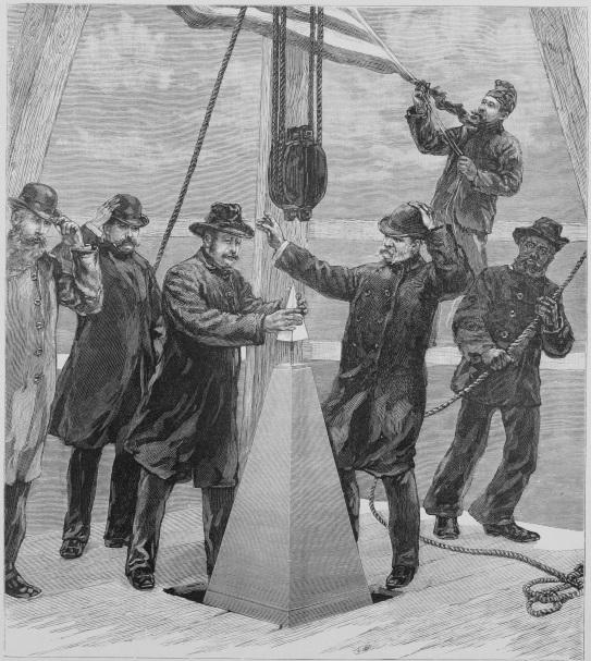 P. H. McLaughlin setting the capstone (aluminum apex) on the Washington Monument. Colonel Thom...jpg
