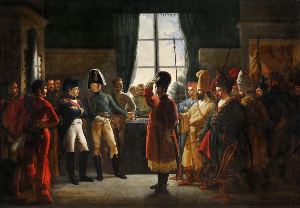 Pierre-Nolasco Bergeret - Alexandre Ier présente à Napoléon Ier les Kalmouks, les Cosaques et ...jpg