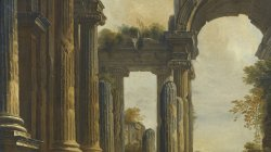 A capriccio of classical Ruins with three men conversing at the steps of a Temple