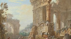Capriccio of Roman ruins with peasants in the foreground