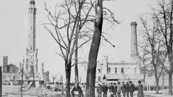 Water Tower at Michigan and Pine after the Great Chicago Fire, 1871