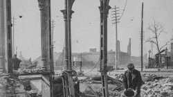 1871 Chicago. A man pours cold water on a still-hot safe after the fire