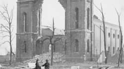1871 Chicago. The ruins of Trinity Church
