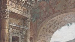 Capriccio with figures by a great arch