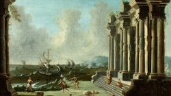 Capriccio with figures among classical ruins and ships beyond