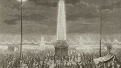 Illuminated obelisks on the Champs Elysees in Paris in 1790