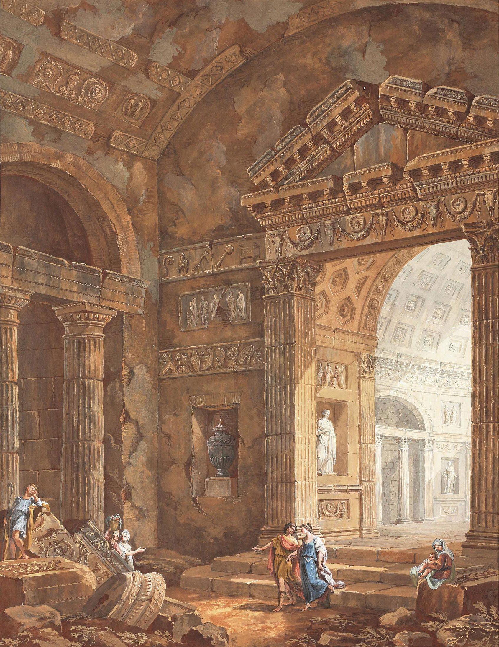 Interior of a Roman basilica with figures #1